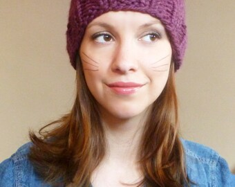Hand Knit Cat Hat Cat Beanie Womens Knit Hat Knitted