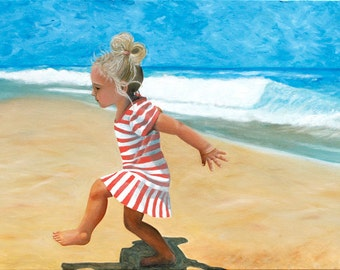 Beach painting Little girl playing at the beach oil painting Coastal wall art Children on the beach ocean art Beach and little girl Original