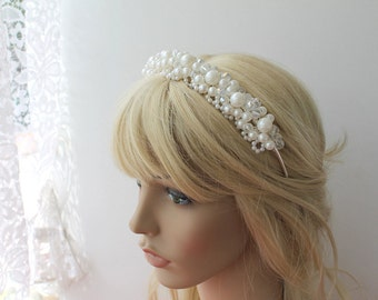 Wedding Headband, Wedding Hair Wine, Bridal Headband, Pearl and Crystal Headband, Bridal Hair Accessory, Wedding Hair Accessory
