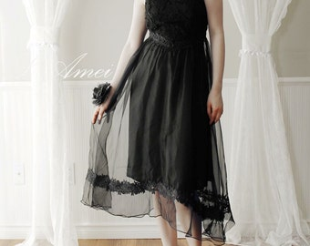 Little Black Lace Dress, Vintage Style Aristocratic Tea Length Party Dress - Black Swan