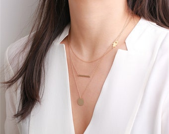 Hand hammered 14k gold filled bar - 14k gold filled necklace - everyday simple jewelry
