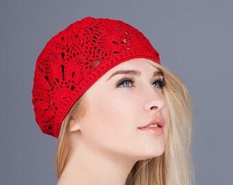 Womens crochet hat Crochet lace cap Crochet flower hats Summer lace beret Summer hats handmade Women summer hats Cotton crochet beret