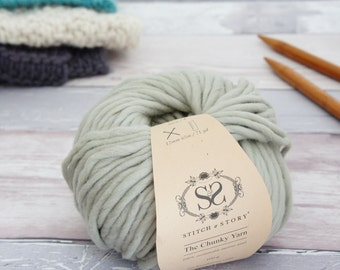 Super Soft Chunky Merino Wool, for Knitting, Crochet, Felting in Olive Pastel