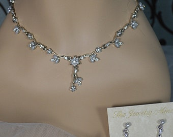 Vintage Pearl and Rhinestone Flower Necklace Earring Wedding Set, Costume Fashion Jewelry