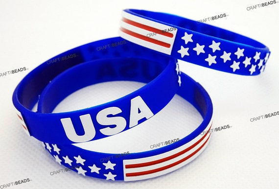 American Flag Silicone Rubber Wristband Cuff Bracelet