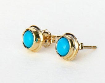 turquoise earrings, turquoise studs, gold turquoise earrings, turquoise jewelry, solid gold studs