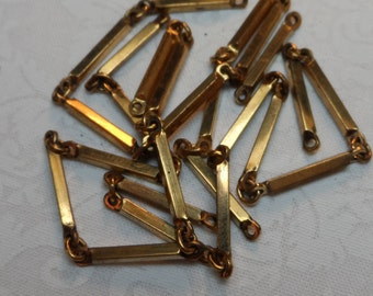 Solid brass bar connectors with 1 ring on each end,2x19mm,20pcs,CMP42