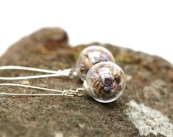 Purple flower earrings, flower earrings, woodland earrings, flower jewellery, earrings, drop earrings, terrarium earrings, dangle earrings