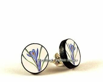 Violet crocus - handmade stud earrings - decoupage
