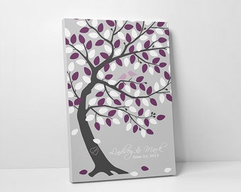 Custom Wedding Guest Book - Personalized Bridal Shower Gift - 75-100 Guests - Wrapped Canvas - 16x20,20x30 or 24x36 Inches