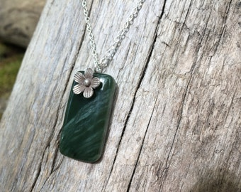 Nephrite Jade Pendant Necklace with Hill Tribe Cherry Blossom Washington State Jade Pacific Northwest Seattle Sterling Silver Necklace B097