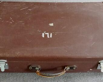 large globetrotter suitcase, vintage brown suitcase, vintage luggage, globetrotter, mens suitcase, collectors luggage, leather luggage,