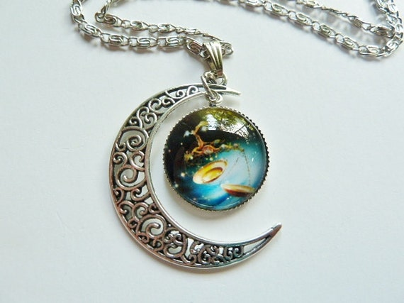 libra scales moon necklace zodiac crescent moon by