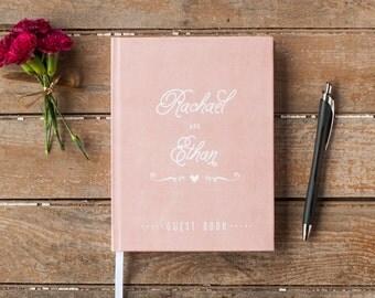 Wedding Guest Book Wedding Guestbook Custom Wedding Album Personalized Customized custom design rustic guest book wedding gift blush pink