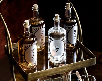 The Constance Set of 4-Etched Glass Spirit Decanters-For the home bar, bar cart, or gift for a booze enthusiast. Perfect for Valentines Day