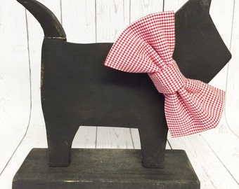 Red Gingham Dog Bow Tie Custom Sizes