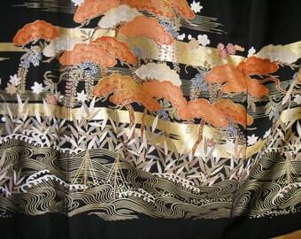 ART KIMONO Gorgeous Golden Kinsai Boats Pines Willows Vintage Japanese Silk Tomesode Kimono w Gold Embellished Art Design,Stunning Wall Art