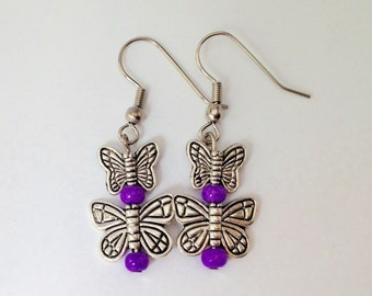 Cute Purple Butterfly Dangle Earrings