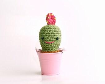 Morris - Crochet Cactus plant in a metal planter / Amigurumi plant in pot / Pin cushion / Decorative soft sculpture / Stuffed doll toy