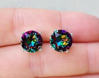 Beautiful Rainbow Swarovski Crystal Post Earrings, Vitrail Medium Rainbow Stud Earrings