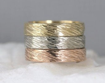 hammered bark texture 4mm 14k gold wedding band pink yellow or white gold mens - Mens Gold Wedding Rings