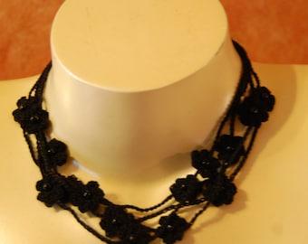Crochet Flower Necklace 4 Strand