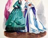 Modes de Paris Vintage Fashion Print, Petit Courrier des Dames 1867, Original Print Published by Stehli Freres, Zurich, Series 1412 No 7