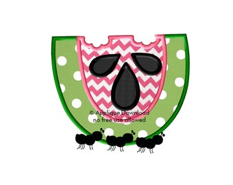 Watermelon and Ants Embroidery Applique - Instant EMAIL With Download - for Embroidery Machines