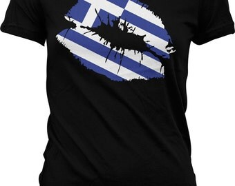 Greece Flag Lips Ladies T-shirt, Greek Flag Lips, Greek Kiss, Kiss From Greece, Junior and Women's Greece T-shirts GH_00962