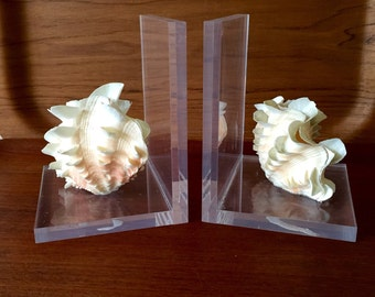Beautiful Vintage Pair of Lucite and Shell Bookends