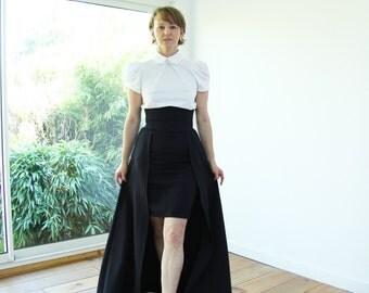 3 pieces set-over skirt+skirt+white shirt-maxi over skirt, floor length skirt, skirt with pockets, high waisted skirt,