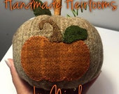 "Wool applique pumpkin using motif by ""Under the Garden Moon"""