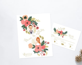 Je t'aime Blossom Wedding Invitation Suite /// Couples Portrait /// Family Portrait /// Printable Wedding Invites /// DIY Wedding Invites