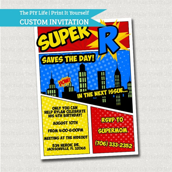 Free Comic Book Day Flyer: SALE Birthday Invitation Superhero Save The Day By ThePIYLife