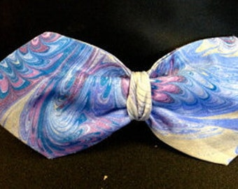 Elegant Blue and Grey Silk  Clip On Bow Tie