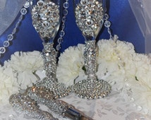 Custom Wedding Toasting Flute with Elegant Chunky Bling! Elegance at its best! Super Sparkle! One of a Kind Wedding Keepsake Item!