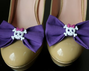 Purple Shoe Bows with Skulls, Purple Shoe Clips, Skulls