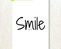 SMILE Print Modern Inspirational Typograhy Wall Decor