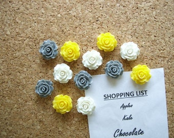 Rose Magnets - Gray, Yellow and White, Decorative Flower Magnets, Fridge Magnets, Strong Magnets, Cute Magnets, Office Decor,Kitchen Magnets
