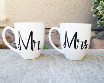 Mr. and Mrs. his and hers Coffee Mugs Couples Wedding Gift Anniversary Gift Commitment Ceremony Valentines Gift