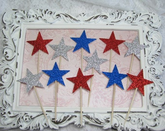 Star Cupcake Toppers, Party Pick Favors, Fourth Of July Decorations, Patriotic, America, 4th of July Decor, Memorial Day Picnic, USA, Stars