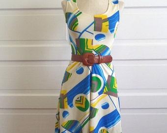 60s 70s Vintage Mod Mini Dress // Psychedelic Neon Geometric Print // Size S M