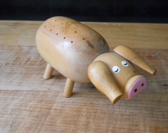 Wooden Pig - Toothpick Holder