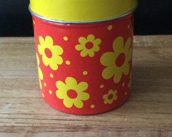 Vintage Yellow and Red Floral Matchbox