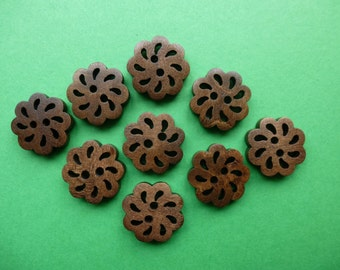 Wooden buttons,  20mm  set of 10