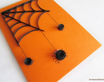 Halloween Spider Card, Quilled Black Spider Web Card, Blank Halloween Quilling card