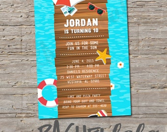 Lake or Beach Birthday Invitation, Printable, DIY