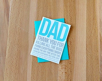 Thank You Dad for All The Things Father's Day Card | Funny Thank You Daddy for Killing Bugs Saving the Day Buying Me Things | I Love you Dad