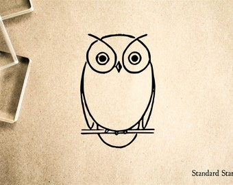 Owl Outline Rubber Stamp - 2 x 2 inches