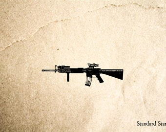 M16 Rubber Stamp - 2 x 2 inches